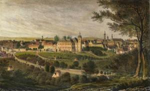 Eisenberg Lithographie, koloriert und eiweißgehöht, um 1840.