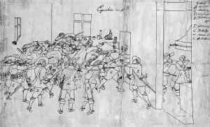 Ermordung_der_Offiziere_Wallensteins-anonyme_Federzeichnung