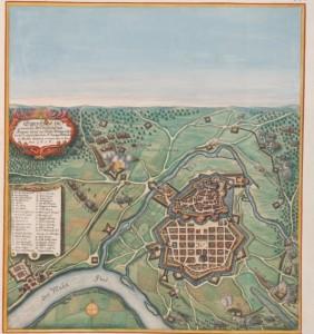 Stadplan von Hanau mit der Belagerung von 1636